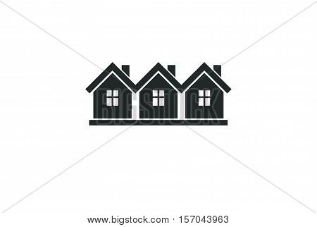 Simple monochrome cottages vector illustration black and white country houses for use in graphic design. Real estate