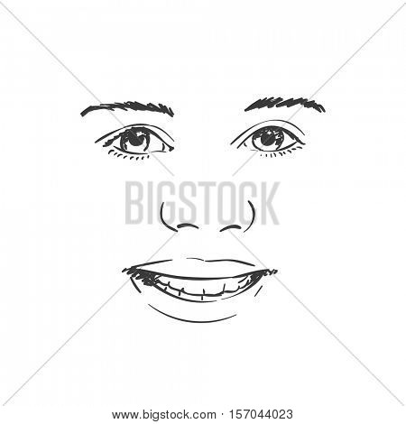 Beautiful young girl smiling face, Vector sketch Hand drawn illustration