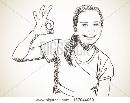 Happy girl showing OK sign, Vector sketch Hand drawn illustration
