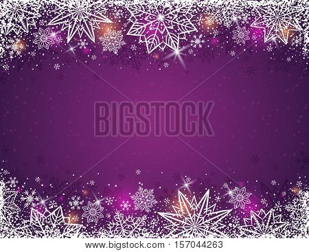 Purple background with frame of snowflakes and stars vector illustration