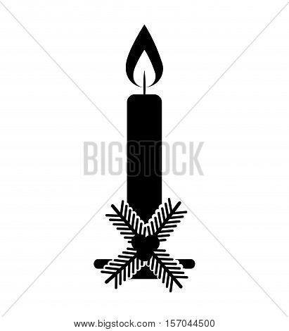 christmas candle decorative icon vector illustration design