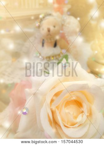sweet dreamy and soft focus background blooming of yellow beige rose