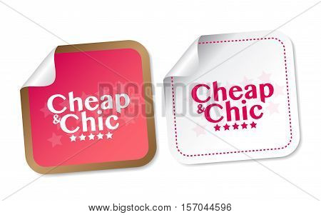 Cheap and Chic stickers with soft shadow