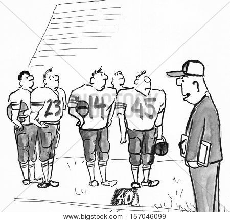 Black and white illustration of football players looking at their coach.