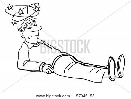Black and white illustration of a man who has fallen and is dizzy.