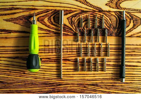 set of working tools. closeup  chrome tools.