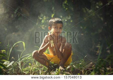 Hope's boy of Mahouts elephant in surin,Thailand