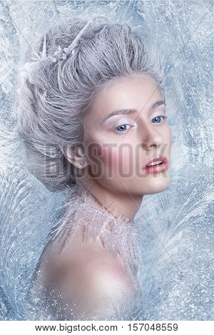 Snow Queen, creative closeup portrait. Young woman in creative image with silver artistic make-up. Winter Portrait.