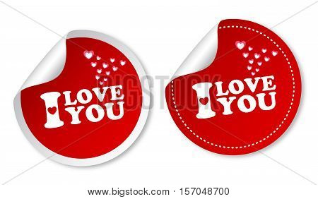 I love You on red stickers with soft shadow