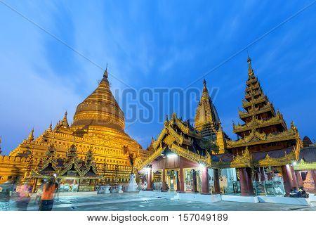 Shwezigon Paya Pagoda in Bagan Mandalay Myanmar