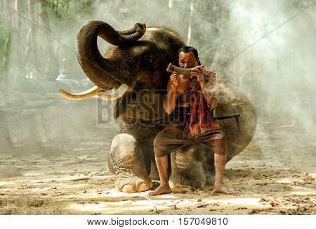 Elephant and mahout sitting rites in the cemetery of the elephants.