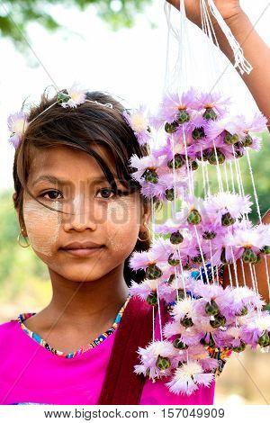 Portrait  Hope Burmese girl that looked hopeful.