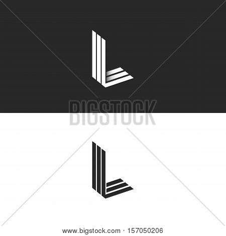 Monogram L Logo Hipster Letter, Isometric Shape Lll Emblem 3D Parallel Thin Line, Mockup Linear Init