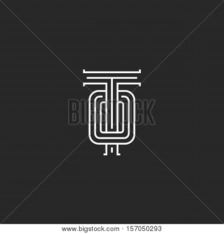 Template Logo To Letters, Combination Overlapping Two Medieval Style Initials Ot Monogram, Intersect
