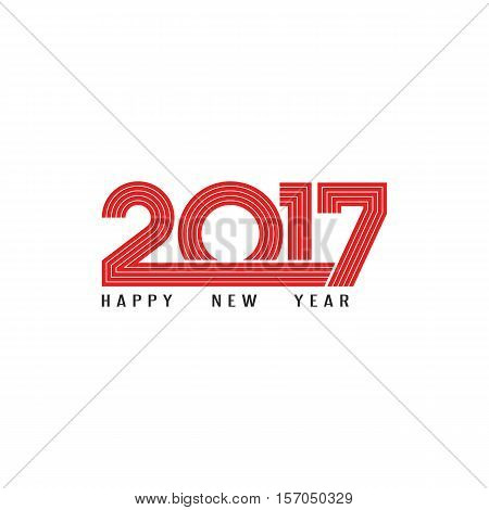 Happy New Year 2017 holiday poster red lettering typography print mockup numerals parallel line style winter celebration messege background