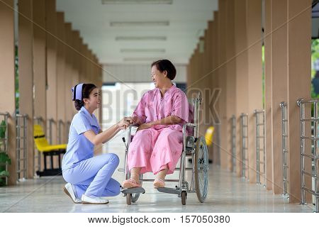 Nurses caring Talking with old patients in hospital.