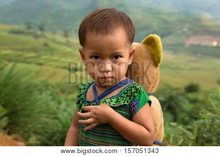 Vietnamese Hmong child face at tule Yen bai,Vietnam.