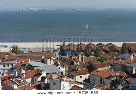 View of Tagus river in Lisbon, Portugal