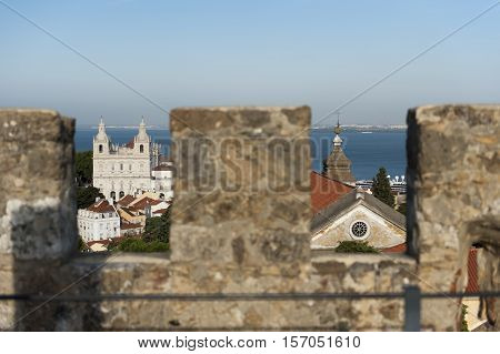 View of Tagus river from St George Castle in Lisbon, Portugal