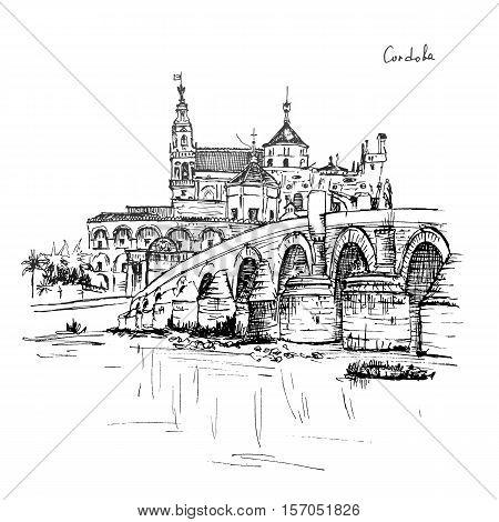 Great Mosque Mezquita - Catedral de Cordoba and Roman bridge across Guadalquivir river, Cordoba, Andalusia, Spain