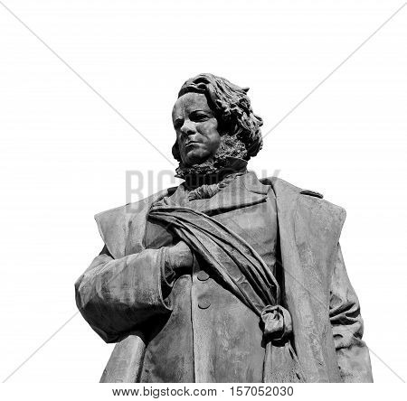 Daniele Manin italian and venetian patriot during the revolt against Austrian empire in 1848. Bronze statue erected in 1875 in the historic center of Venice on white background (B/W)