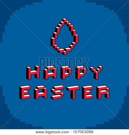 Happy Easter phrase created in digital technology style vector 8 bit. Celebration theme pixel art inscription.