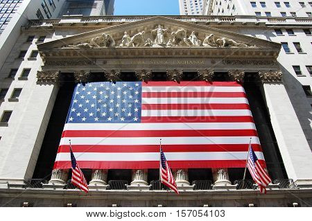 NEW YORK CITY - AUG 15, 2009: New York Stock Exchange facade at Wall Street in Lower Manhattan, New York City, USA.