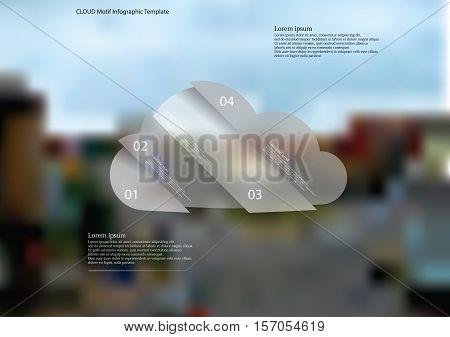 Illustration infographic template with cloud motif askew divided to four pieces. Each item contains number and text. Background is created by blurred photo of crossroad of streets in city.