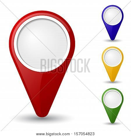 Set of 3D map pointers  isolated on white background.