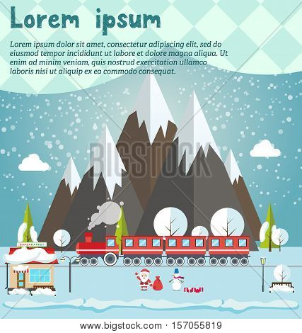 Santa and snowmen standing in forest, supermarket, steam locomotive or train and wagons on railroad track and mountains background. Flat vector illustration. Concept for invitations, cards
