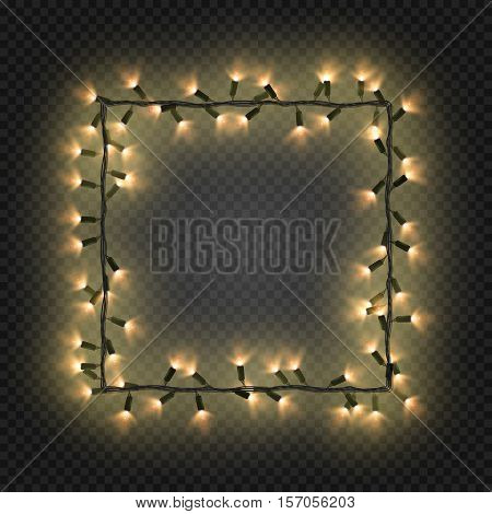 Christmas golden bulbs, garland forming a square, vector. Festive blank quadratic frame with yellow electric garland