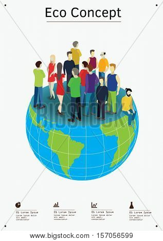 Overpopulation problem concept. Vector Illustration of the global Earth problem.