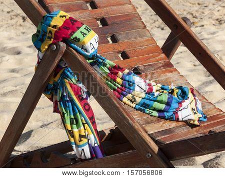 Beach chair with sarong canga in Bahia, Brazil