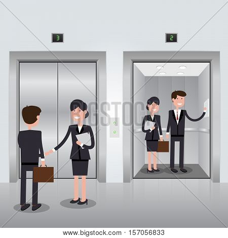 Business people in office building elevator, realistic chrome opened and closed doors. Vector illustration