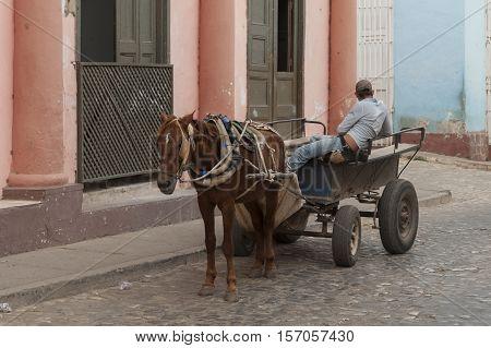 Old horse traction rickshaw or tuk tuk in Trinidad, Cuba