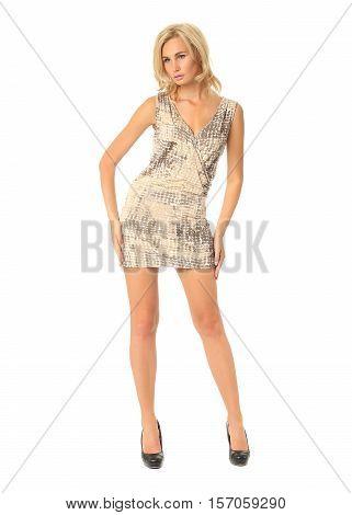 Full Length Of Flirtatious Woman In Short Dress Isolated On White