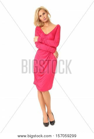 Portrait Of Flirtatious Woman In Pink Cocktail Dress Isolated On White