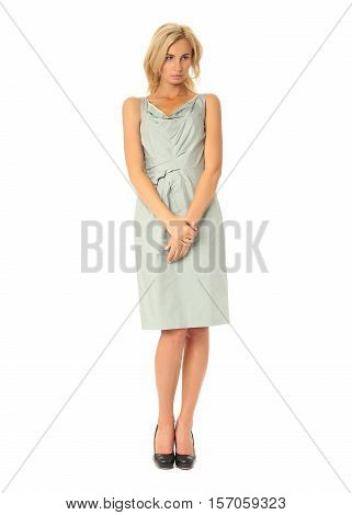Full Length Of Flirtatious Woman In Dress Isolated On White