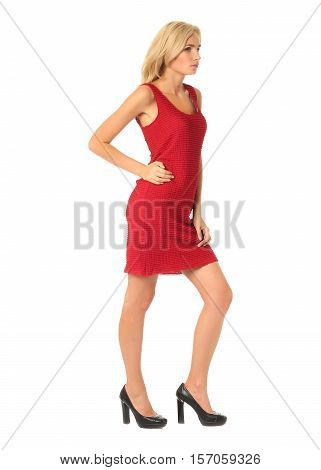 Portrait Of Flirtatious Woman In Red Cocktail Dress Isolated On White