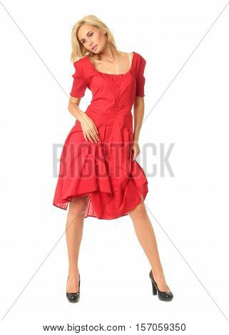 Full Length Of Flirtatious Woman In Red Dress Isolated On White
