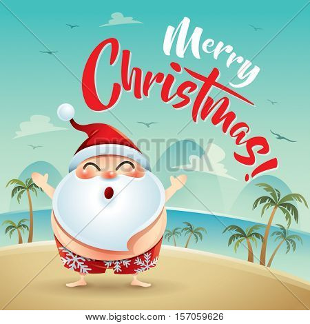 Merry Christmas! Santa Claus on the beach holiday.