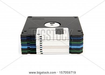 Stack Of All Colored Floppy Disks