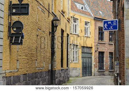 Traditional architecture detail on street in Gent, Belgium