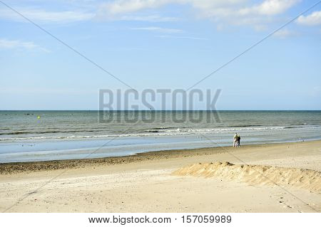 Sand beach in Dunkirk, north of France
