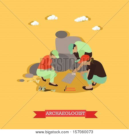Excavation concept vector illustration in flat style. Archaeologists in Egypt, remains of settlements, archaeological tools.