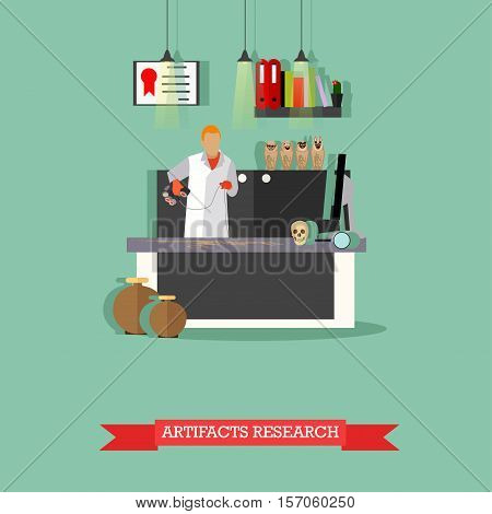 Vector illustration of archaeological laboratory, researcher scanning skeleton of dinosaur, figurines Ushabti. Artifacts research concept design element in flat style.
