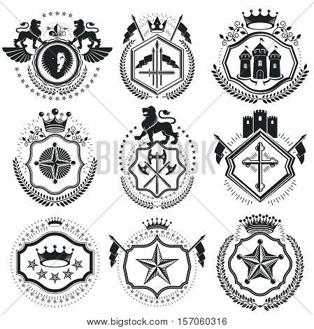 Vintage Vector Design Elements. Retro Style Labels, Heraldry. Classy High Quality Symbolic Illustrat