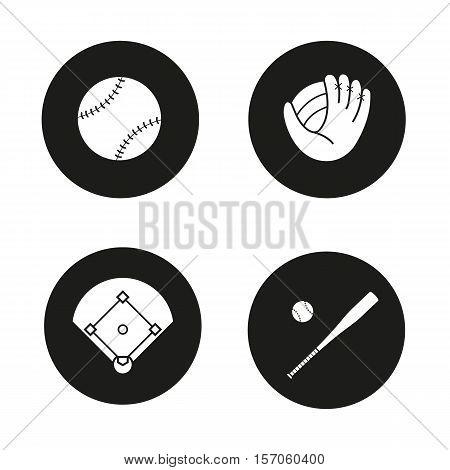 Baseball icons set. Ball, mitt, field and bat. Softball accessories. Vector white illustrations in black circles