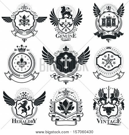 Heraldic Designs, Vector Vintage Emblems. Coat Of Arms Collection, Vector Set.
