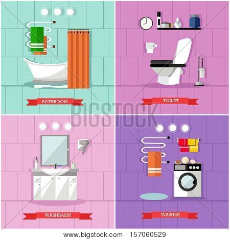 Vector set of posters, banners with bathroom furniture, bath, washbasin, washer, toilet and accessories in flat style.